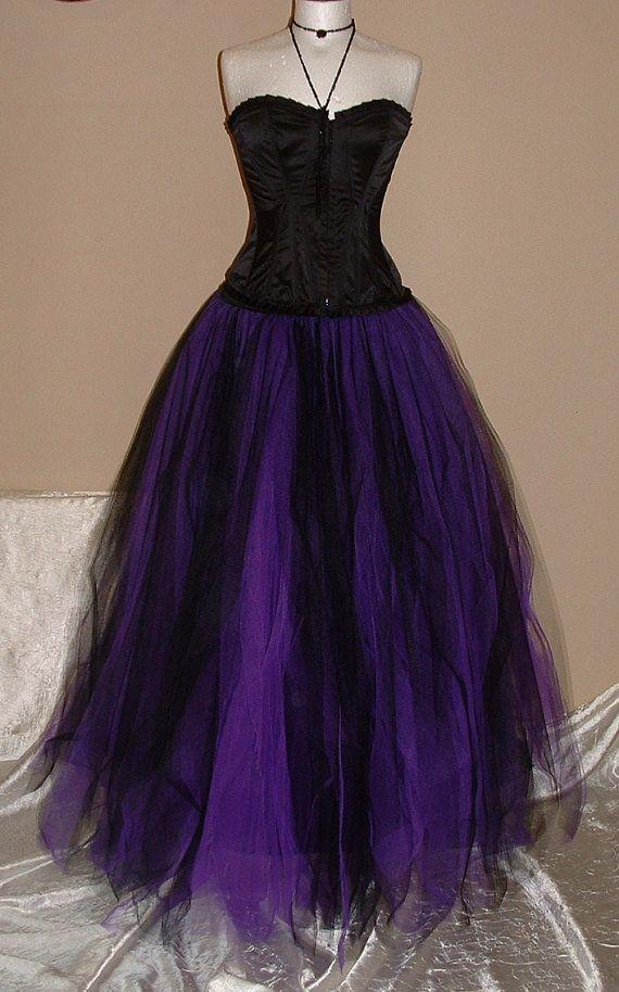 Womens Ladies Tutu Skirt Long Purple Black Tulle Goth Dance Bridal Wedding Victorian Ballet US Size