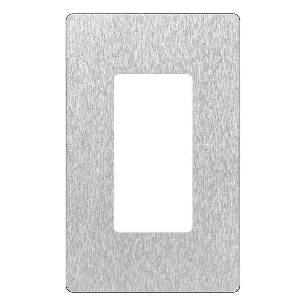 Lutron Claro 1 Gang Decorator Wallplate Stainless Steel Silver