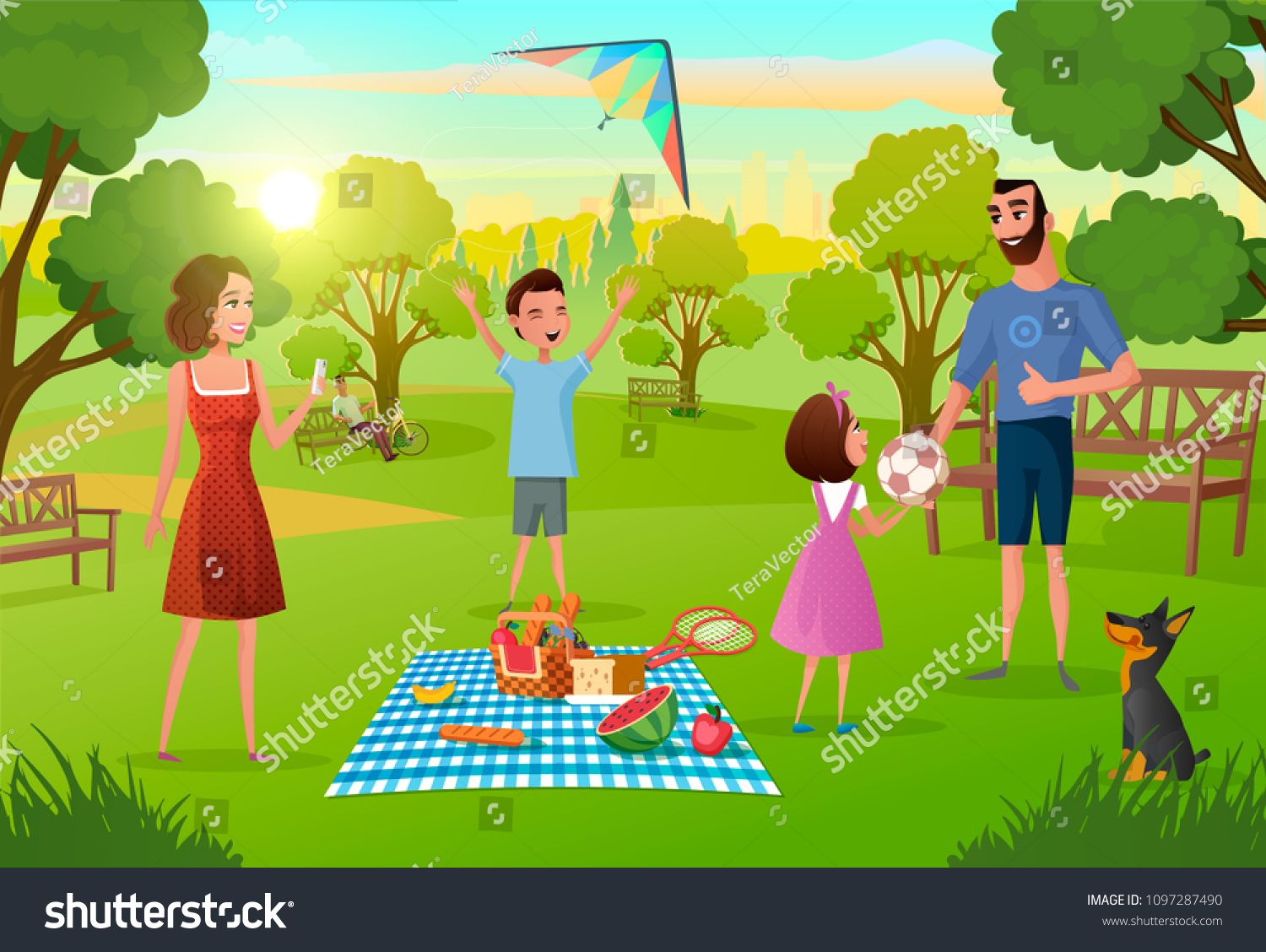 Happy Family Enjoying Picnic On Meadow In Park Cartoon Vector Illustration Parents Having Fun Lunching Pla Cartoon Illustration Cartoons Vector Booth Design