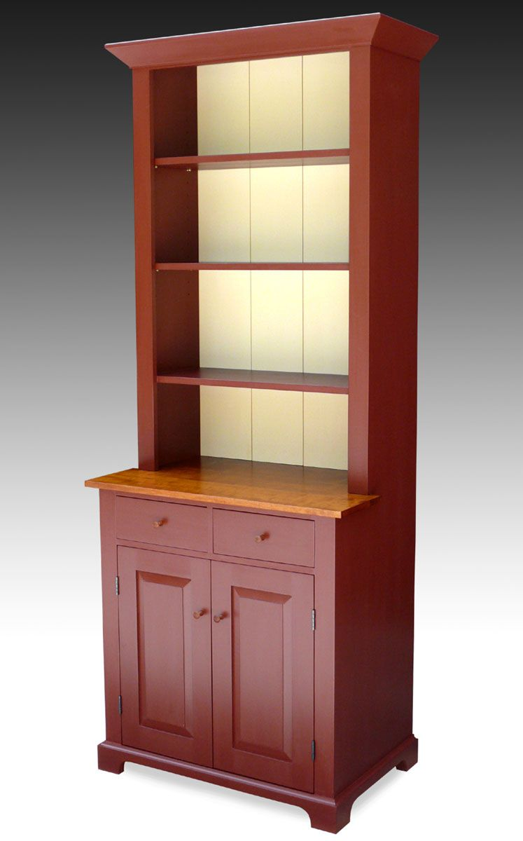 Classic shaker styled hutch with bold oxblood milk paint and