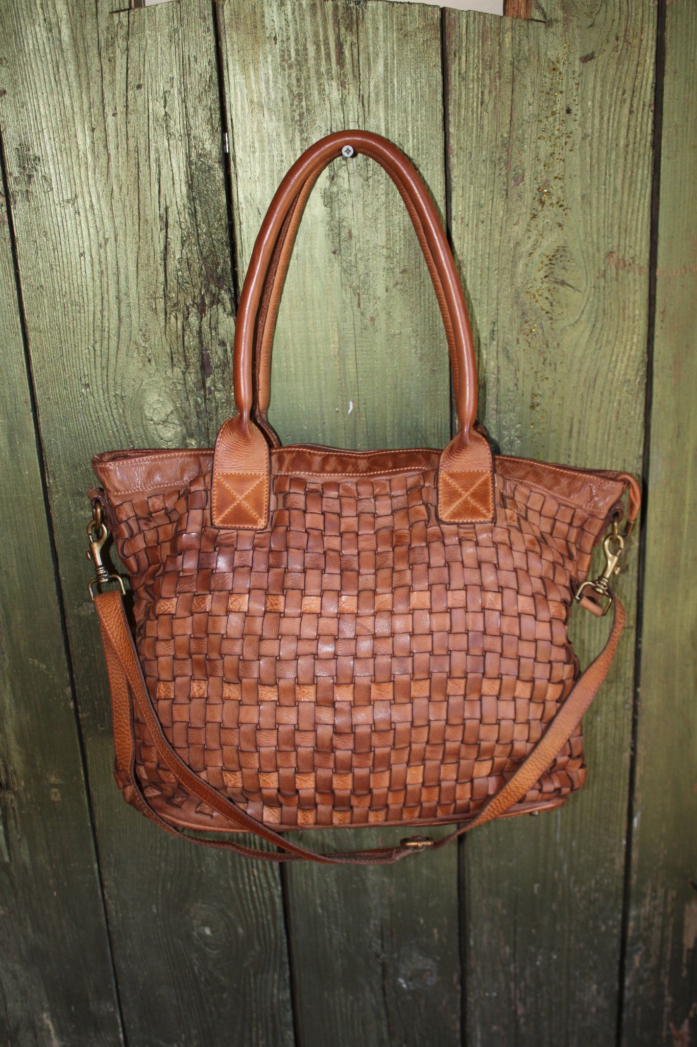 Italian Woven Leather Handmade Purse Tote Handbag Soft Bag Distressed