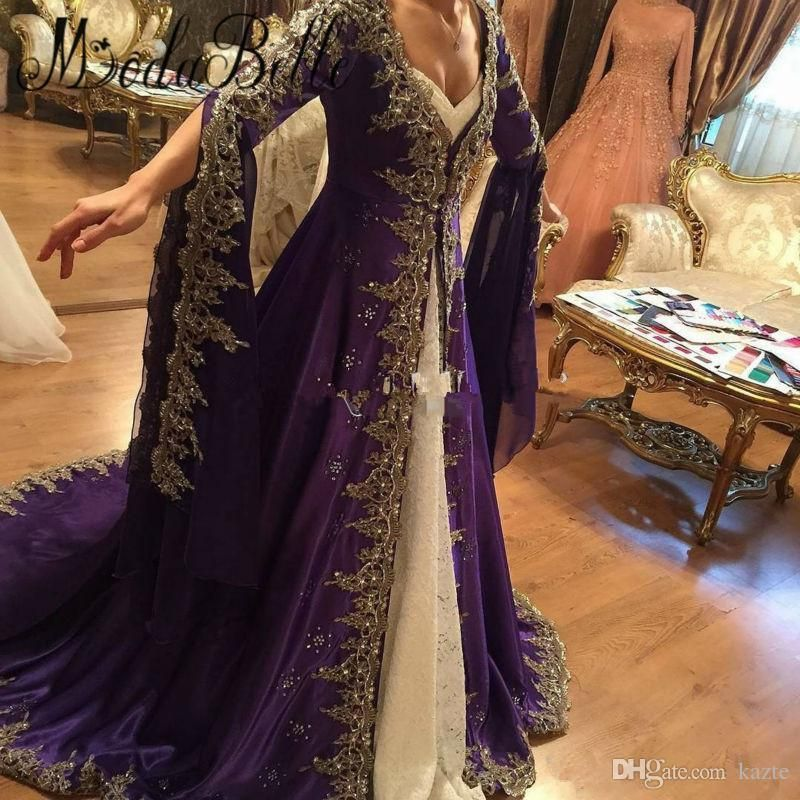 ec269c6522de Arabic Lace Long Sleeve Prom Dresses With Embroidery Muslim Dubai Party Dresses  2018 Glamorous Purple Turkish Evening Gowns Formal Wear Mermaid Wedding ...