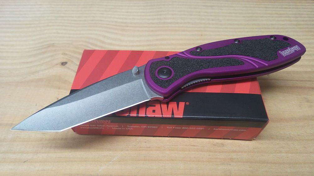 Kershaw Blur Assisted Opening Knife Purple Drop Point Blade Folding 1670PURBDZ #Kershaw