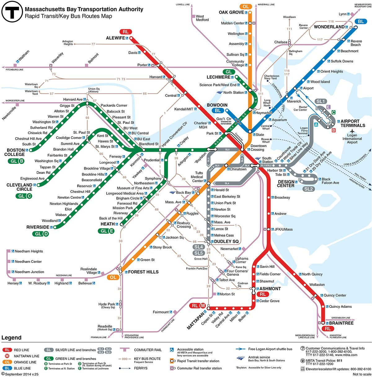 Boston T Subway Map