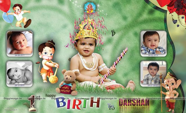First Birthday To Nri Baby Darshan Flex Design By Diggimage In In