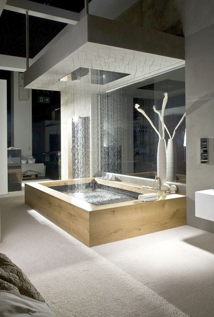 I do like the idea of some treatment above the bath - but this is a bit over the top - also don't know how that would work with a vaulted ceiling and the skylight. #vaultedceilingdecor