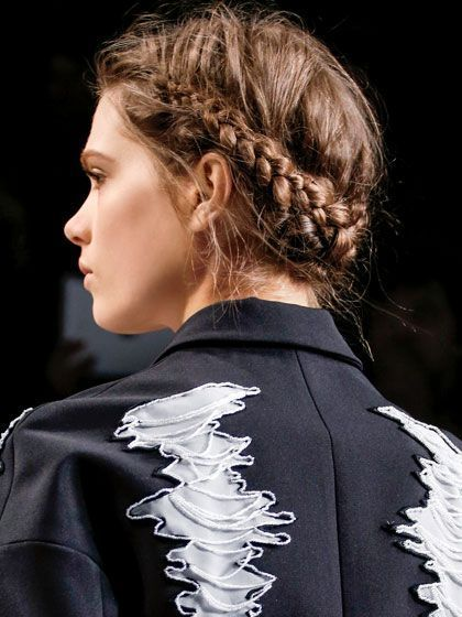 Hair Ideas for 2014 Here's how to get the roughed-up, romantic hair texture as seen on the crisscrossed messy braided updo from the fall 2013 Viktor & Rolf show. | Here's how to get the roughed-up, romantic hair texture as seen on the crisscrossed messy braided updo from the fall 2013 Viktor & Rolf show. |