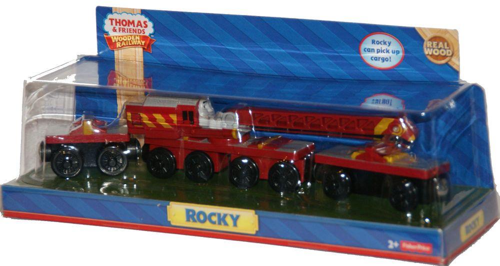 Rocky Thomas Tank Engine Crane Wooden Railway New In Box