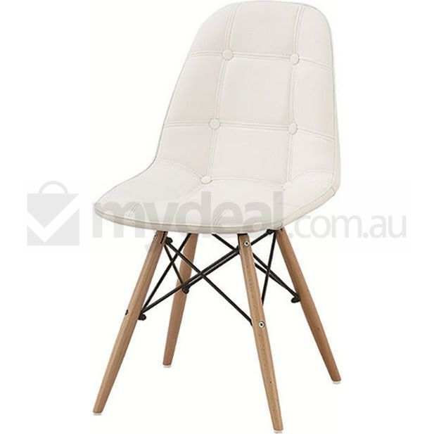 2x Replica Eames Dsw Pu Leather Dining Chairs White