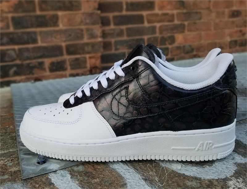 sports shoes 3c774 c9fcf Remixdakicks Black and White Croc Custom Air Force Ones Sneakers
