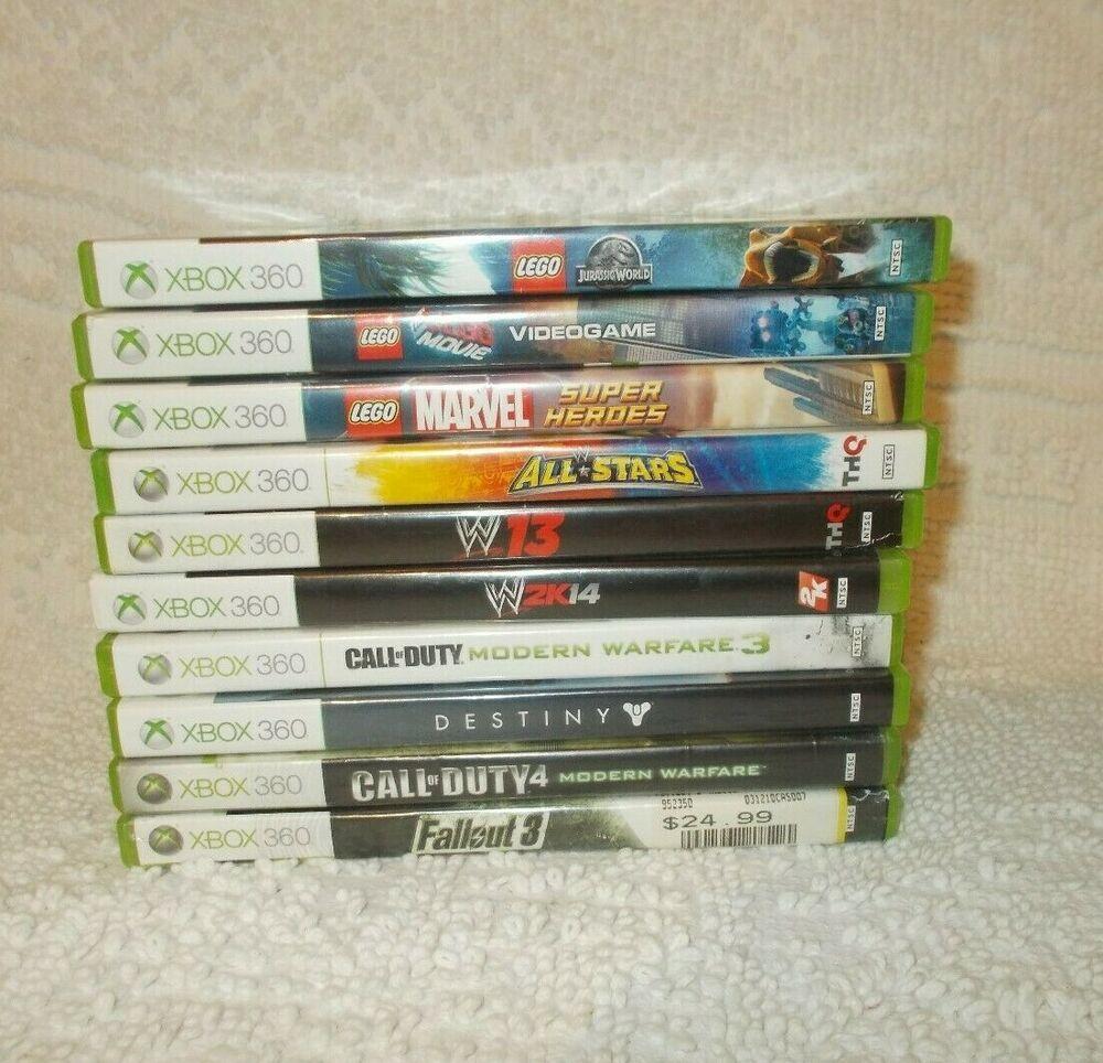 Xbox 360 Lot Of 10 Games Call Of Duty Modern Warfare Lego Wwe Destiny Fallout Guitarhero Modern Warfare Call Of Duty Lego Wwe