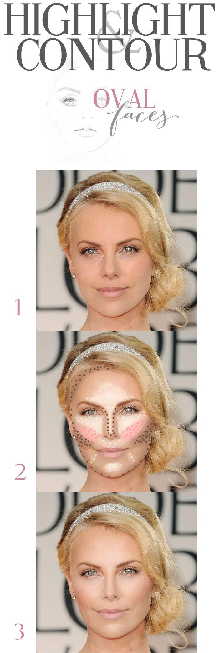 "Face Shape ""oval"" highlight and contouring patterns @Cara K K K K Ferrier"