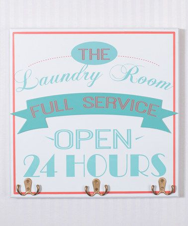 Look at this #zulilyfind! Blue & Red 'Full Service' Laundry Room Wall Hook Sign #zulilyfinds