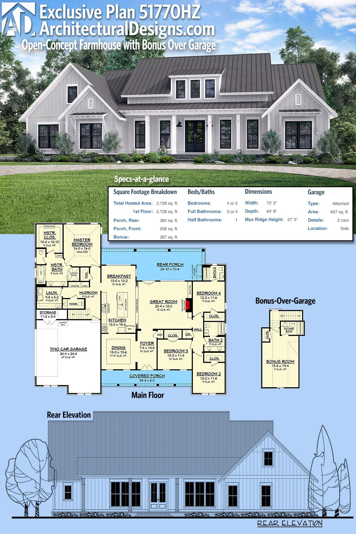 Plan 51770HZ: Open-Concept Farmhouse with Bonus Over Garage | Garage ...