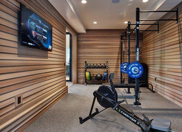 cool garage gym design ideas home gym design wall cladding wall mounted tv - Home Gym Design Ideas