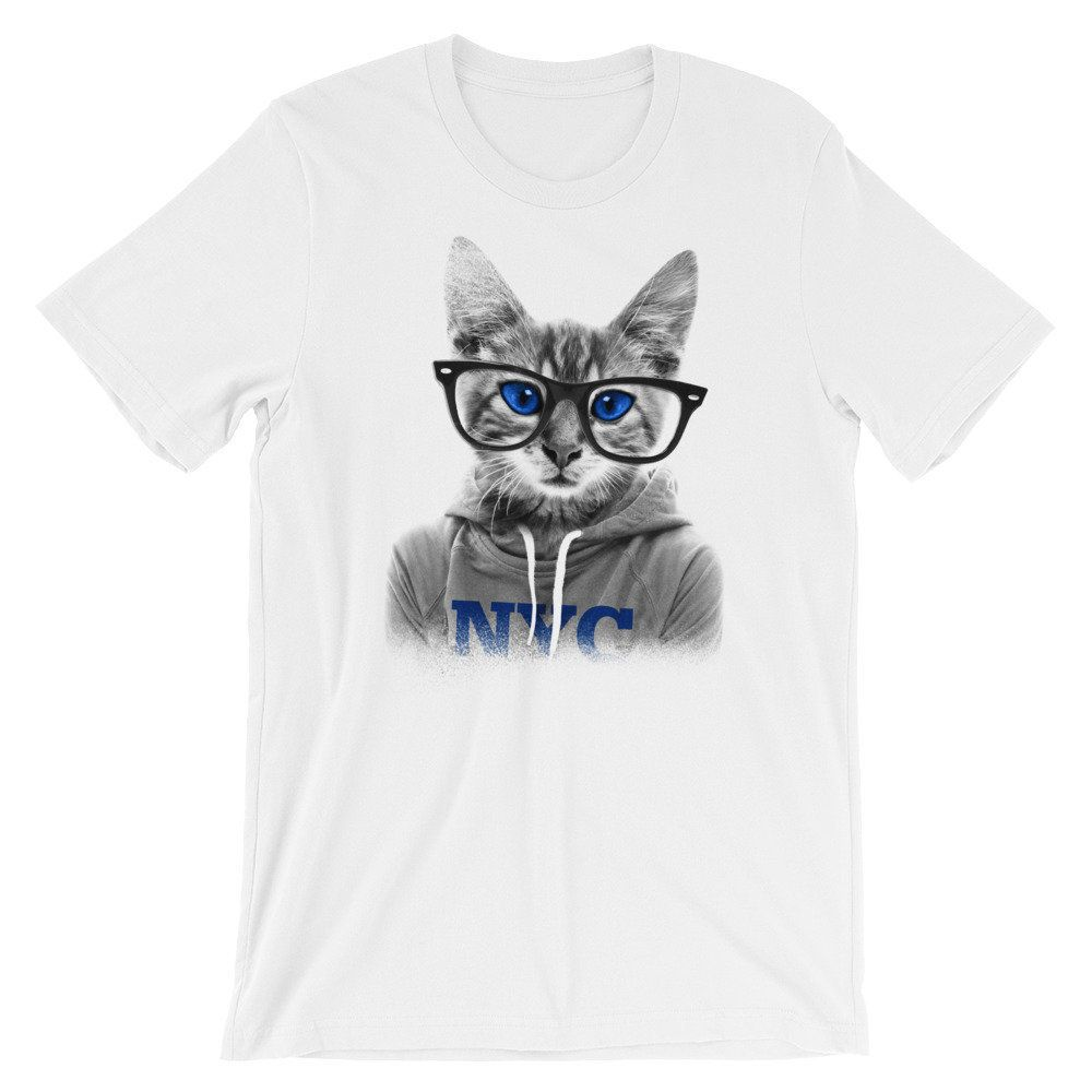 Cat With Glasses Shirt Funny Cat T Shirt Nyc Shirt With Cats Kitten Shirts Kitten With Glasses Top Short S Kittens Shirt Cat Tshirts Funny Cat Tshirt
