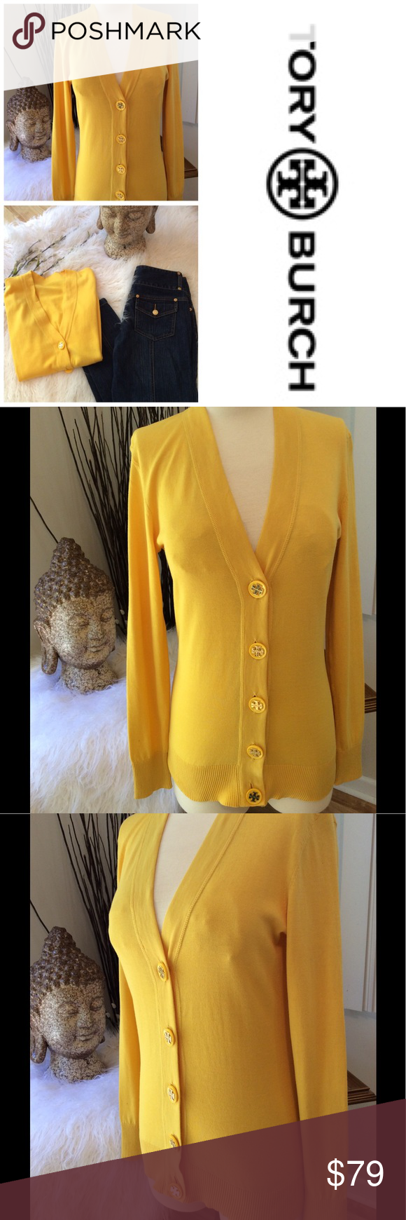 TORY BURCH Canary Yellow Cardigan | Yellow cardigan and Cotton