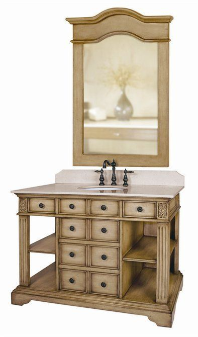 View the Belle Foret 80022R Single Basin Vanity Distressed Parchment