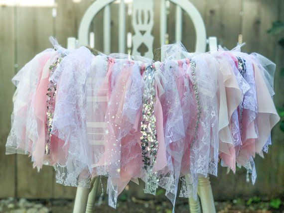 High Chair Snowflake Light Pink and Silver Glitter with Lace Fabric Birthday Banner Photo Backdrop or Party Decor Winter Onederland