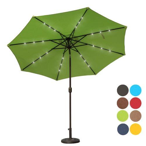Sundale Outdoor 10 Ft Solar Ed 24 Led Lighted Patio Umbrella Table Market With Crank And Push On Tilt For Garden Deck Backyard