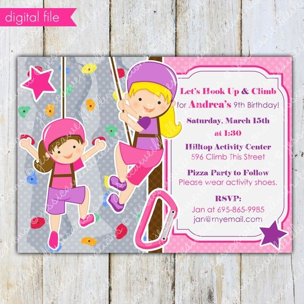 rock climbing invitations for kids Girls Rock Wall Climbing