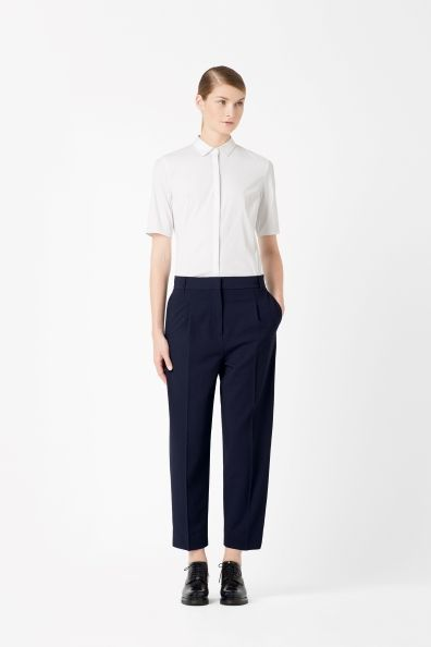 Cropped wool-mix trousers