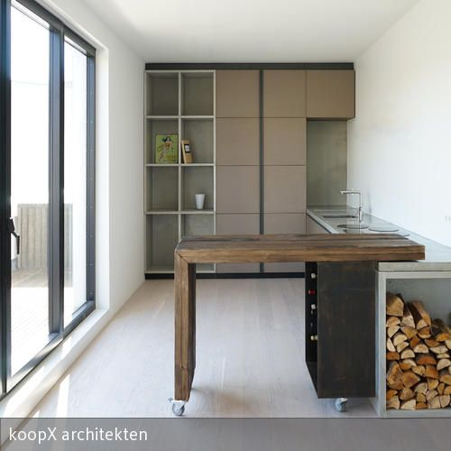 Altholzküchen modern  Sichtbetonküche mit verschiebbarer Bar | Sichtbeton, Altholz und ...