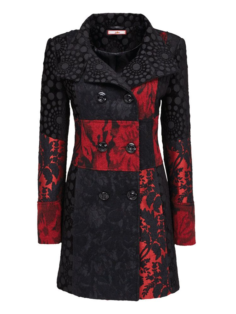Manteau long femme rouge et noir
