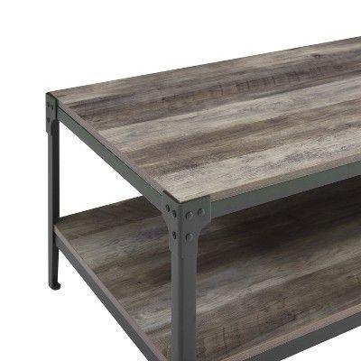 Angle Iron Rustic Wood Coffee Table Gray Wash Saracina Home Oak Coffee Table Coffee Table Grey Furniture