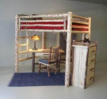 Pine Full Platform Log Bed Rustic Bedding Bed Cool Bunk Beds