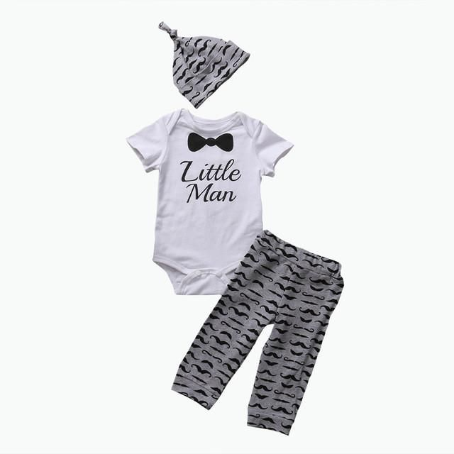 166f70d97e7 3PCS Baby Boy Gentleman White Short Sleeve Bodysuits-Striped Pants-Hat  Outfit m