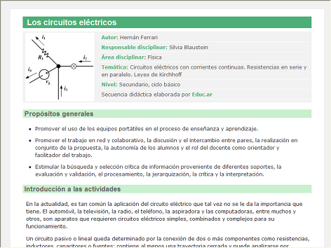 This is a proposal by teachers of physics activity, in which you must learn by watching videos how circuits are made with continuous streams resistors in series and in parallel (Kirchhoff Laws). After a report is made in the Write program.
