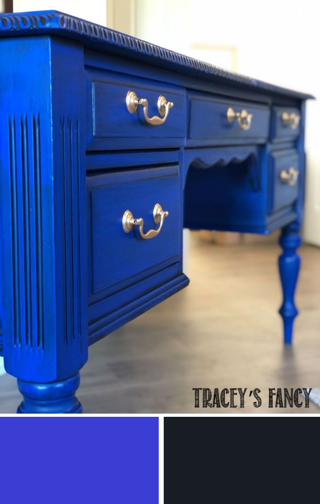 Bold Cobalt Blue Desk To Brighten Up A Work Space Tracey S Fancy Blue Painted Furniture Cobalt Blue Paint Chalk Paint Furniture
