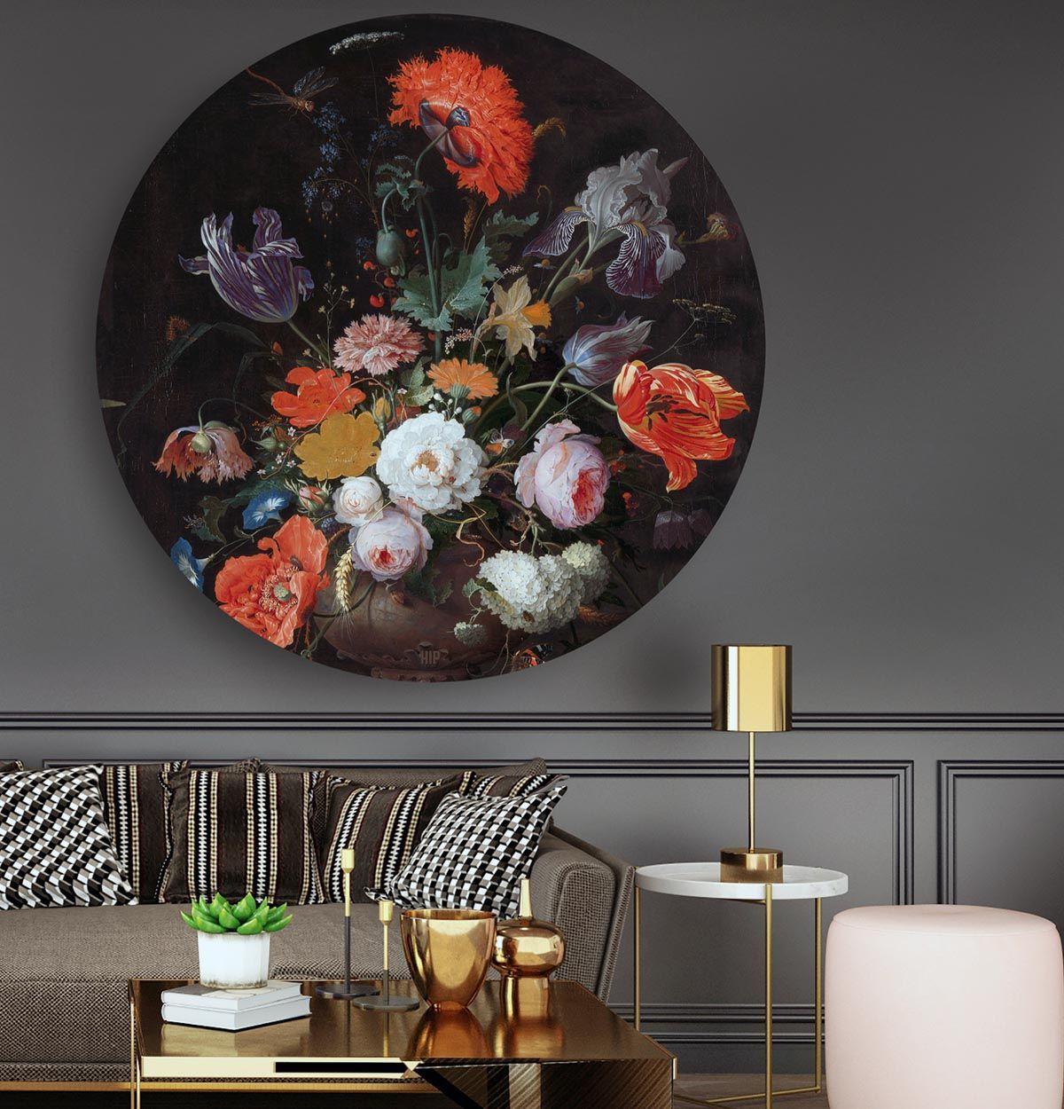 Stilleven Met Bloemen En Een Horloge In Het Rond Schilderij Hip Orgnl Wanddecoraties Schilderij Decoratie