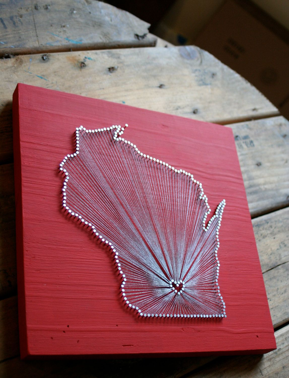 Wisconsin Love // Reclaimed Wood Nail and String Art Tribute to the Badger  State via - Wisconsin Love // Reclaimed Wood Nail And String Art Tribute To