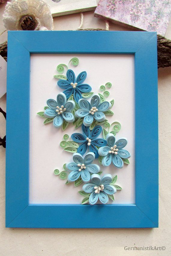 3d Blue Flower Wall Art Framed Home Decor Products Quilling