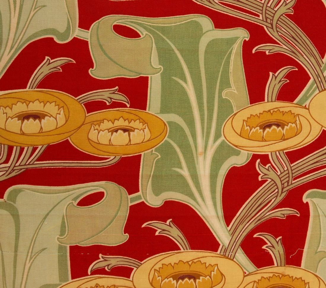 Art nouveau fabric early 20th century attributed to for Art deco fabric