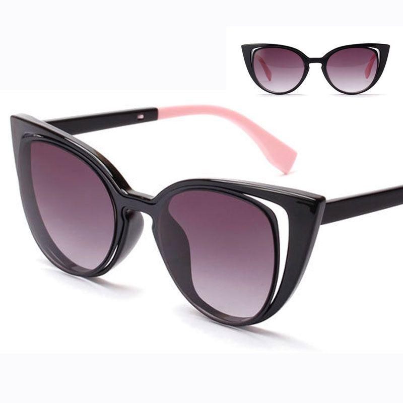 b62946a6c6a49 Marca de luxo Designer Cat Eye Sunglasses mulheres Vintage Cateye gradiente de  óculos de sol femininos preto Retro azul óculos de sol oculos 0136 em Óculos  ...