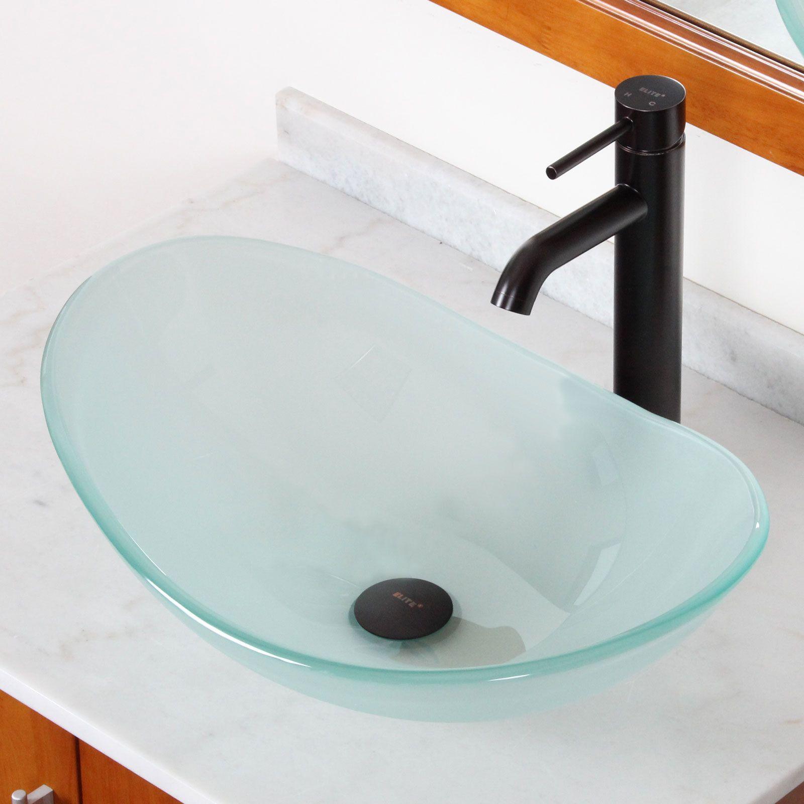 Elite Tempered Bathroom Oval Glass Vessel Sink Faucet Combo Clear Glass Vessel Sinks Glass Vessel Sink