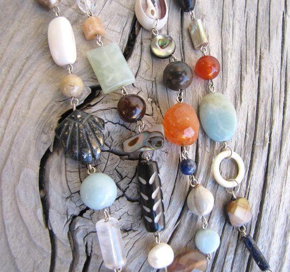 Shell Gemstone and Wood Treasure Mix by carolinesjewelrybox, $90.00