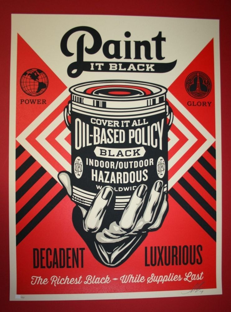 Paint it black print shepard fairey obey giant poster hand brush frank shepard fairey obey paint it black serigraphscreen print on speckeltone paper hand signed and numbered edition paper size 18 x 24 inch x cm sciox Gallery