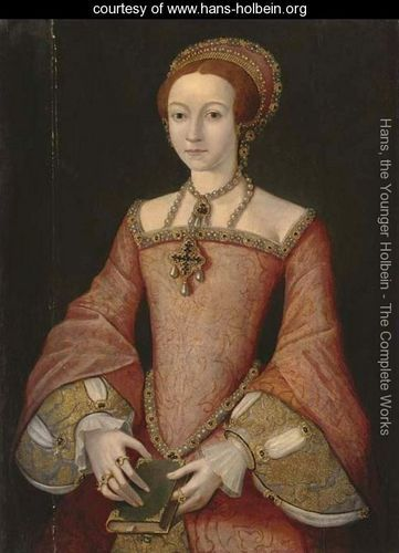 Portrait of Elizabeth when a princess, three-quarter-length, in a red jewelled dress, the bible in her hands - Hans, the Younger Holbein - www.hans-holbein.org