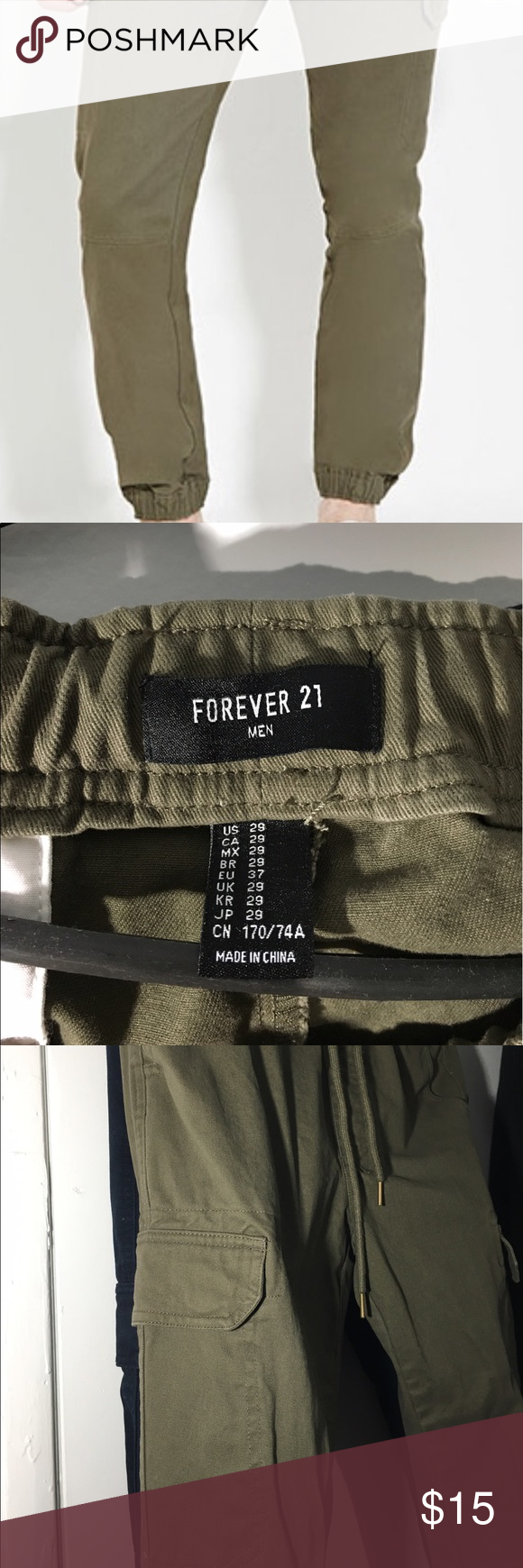 MEN'S FOREVER 21 CARGO JOGGERS Haven't been used although it has been machine washed. Selling it here because apparently it was not a perfect fit for me. Forever 21 Pants