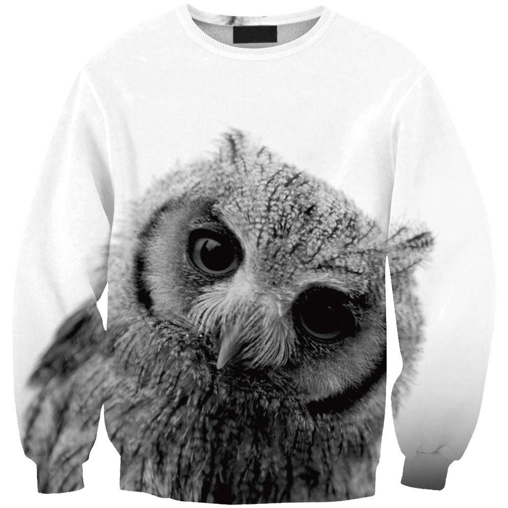 Shop the owl d digital printing sweatshirts online shein offers