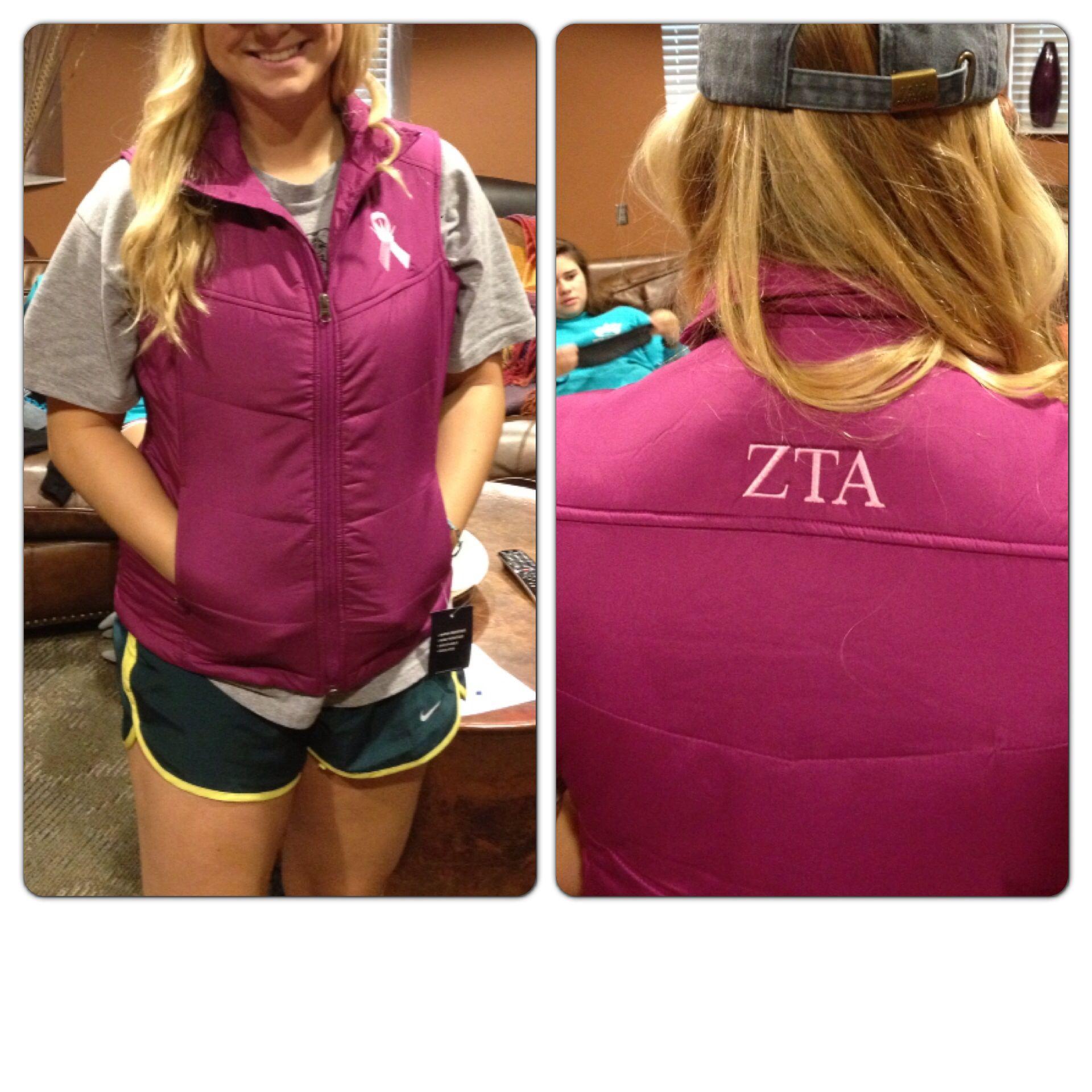 Zeta At Kansas State Think Pink Vests I Designed New Zta Crown And All Sorority Outfits Pink Vest Zta