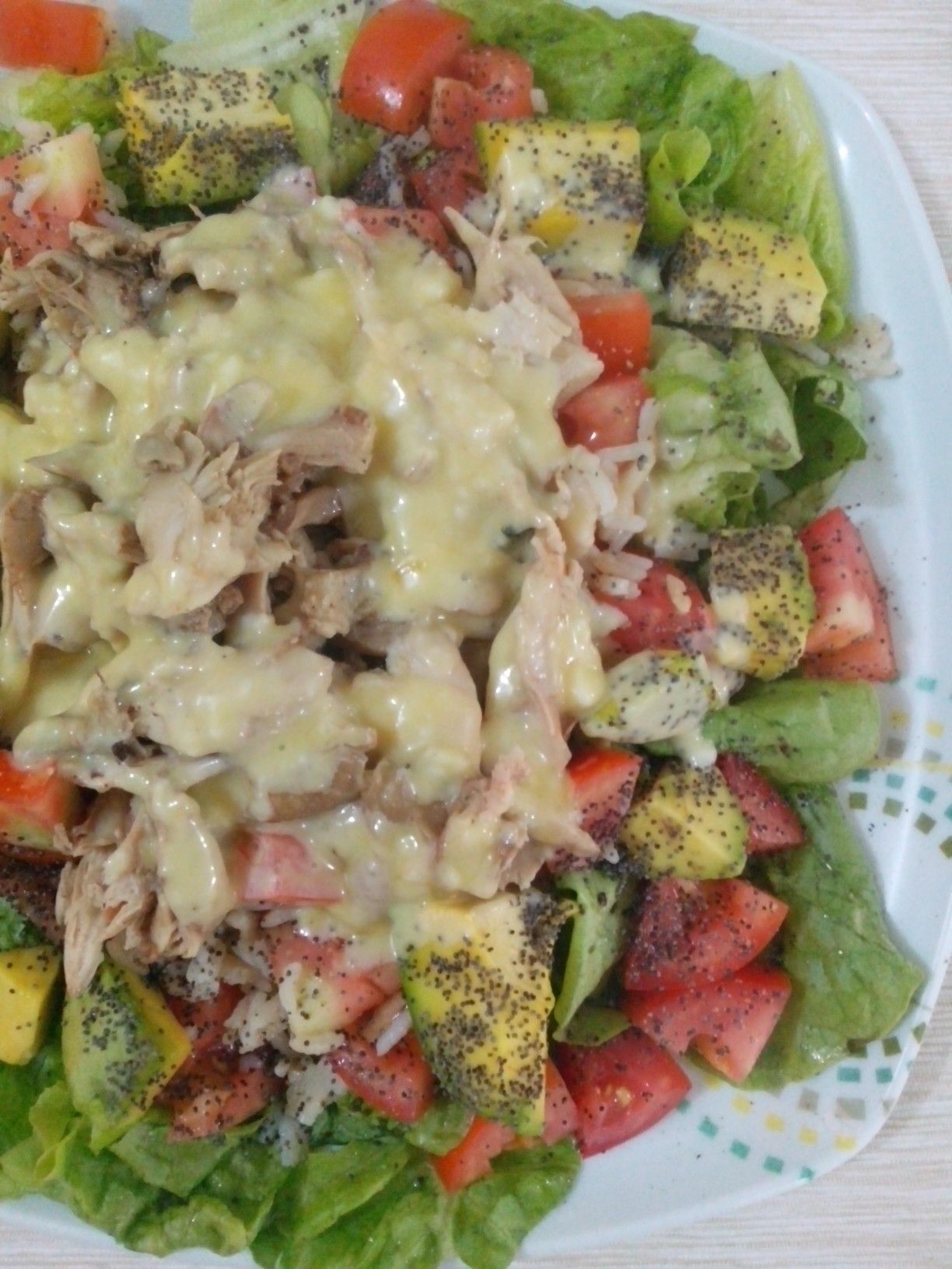 Ensalada con lechuga, tomate, aguacate y arroz, pollo caliente guisado y una mayonesa casera de reducción balsámica de Passión Fruit (parchita)