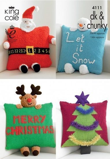 King Cole Christmas Novelty Cushions Knitting Pattern 4111 -  - #Christmas #Cole #Cushions #King #Knitting #Novelty #Pattern