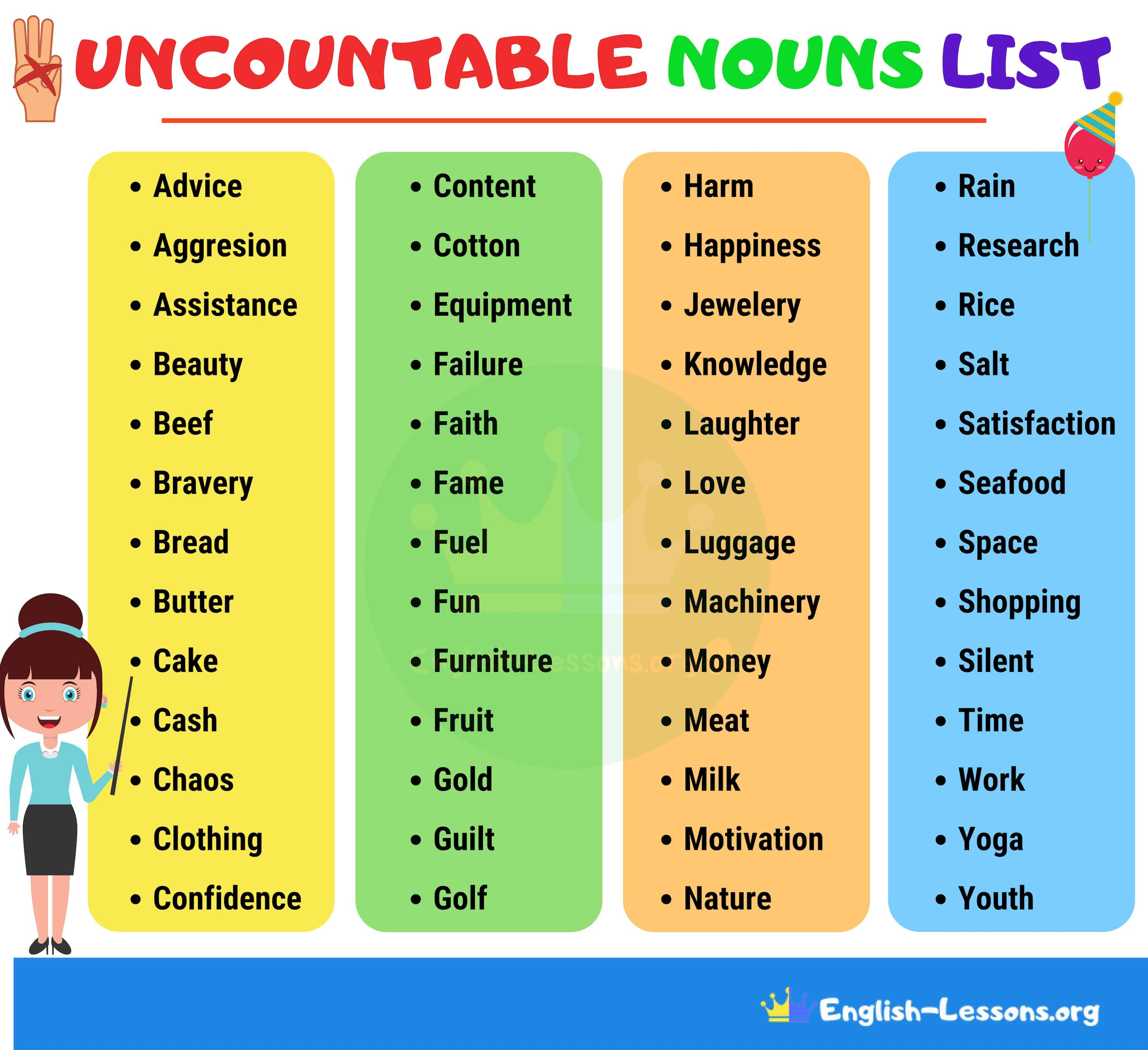 List Of Common Uncountable Nouns In English