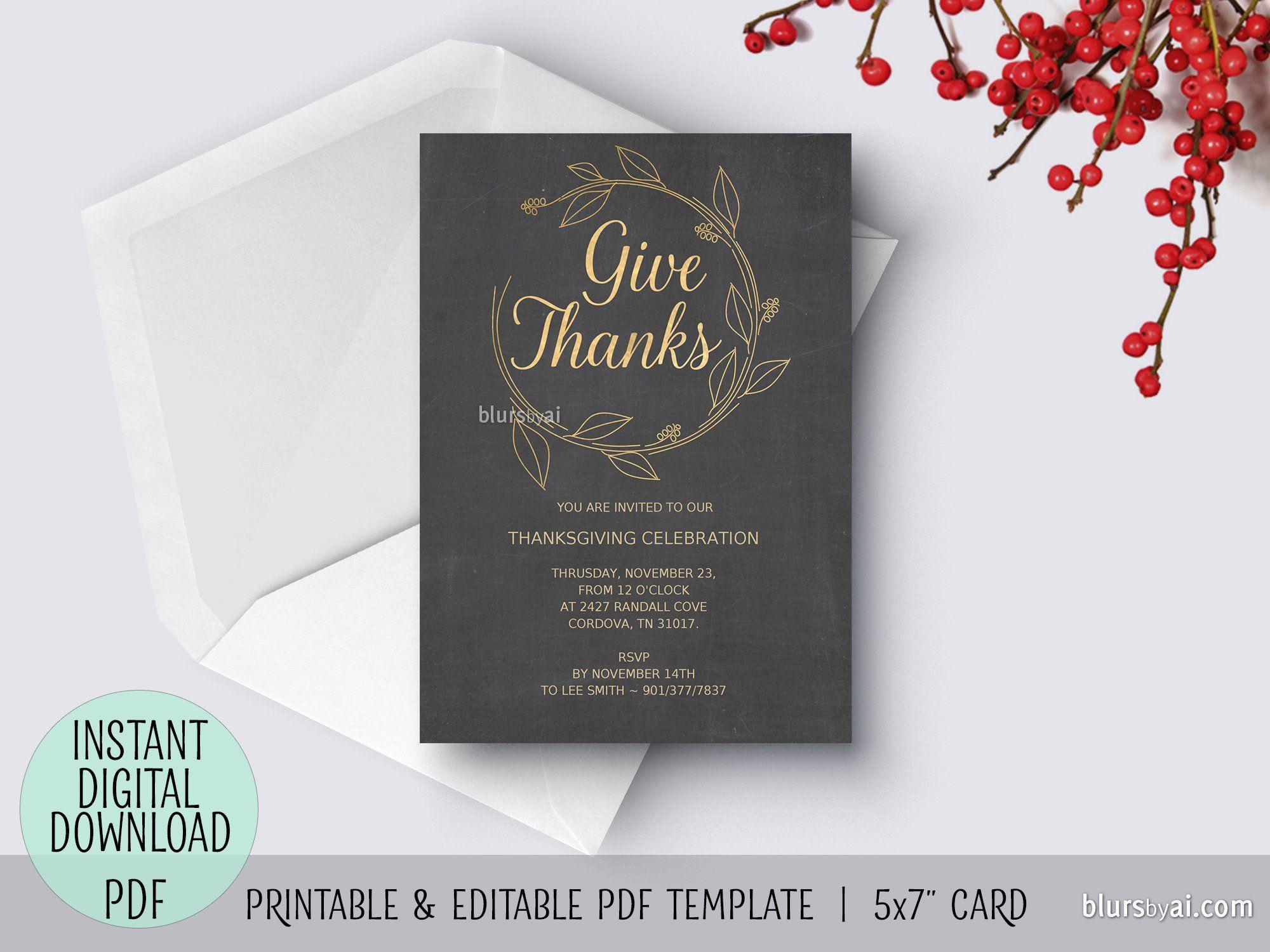 Editable Pdf Thanksgiving Invitation Template Give Thanks