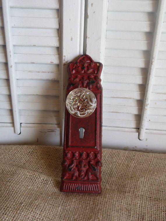 Rustic Red Cast Iron, Glass Door Knob, Vintage Inspired Door Knob ...